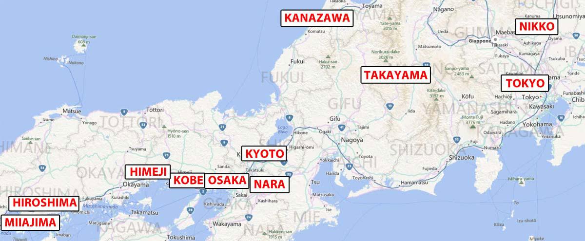 mappa del viaggio in giappone