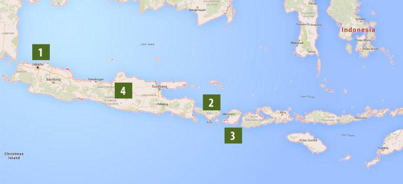 itinerario del viaggio in Indonesia