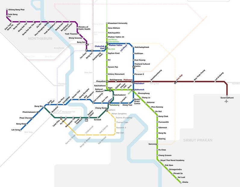 Una mappa aggiornata del sistema metropolitano di Bangkok